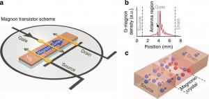 Possibile utilizzo delle onde di spin per la realizzazione di un transistor a cristalli magnonici.
